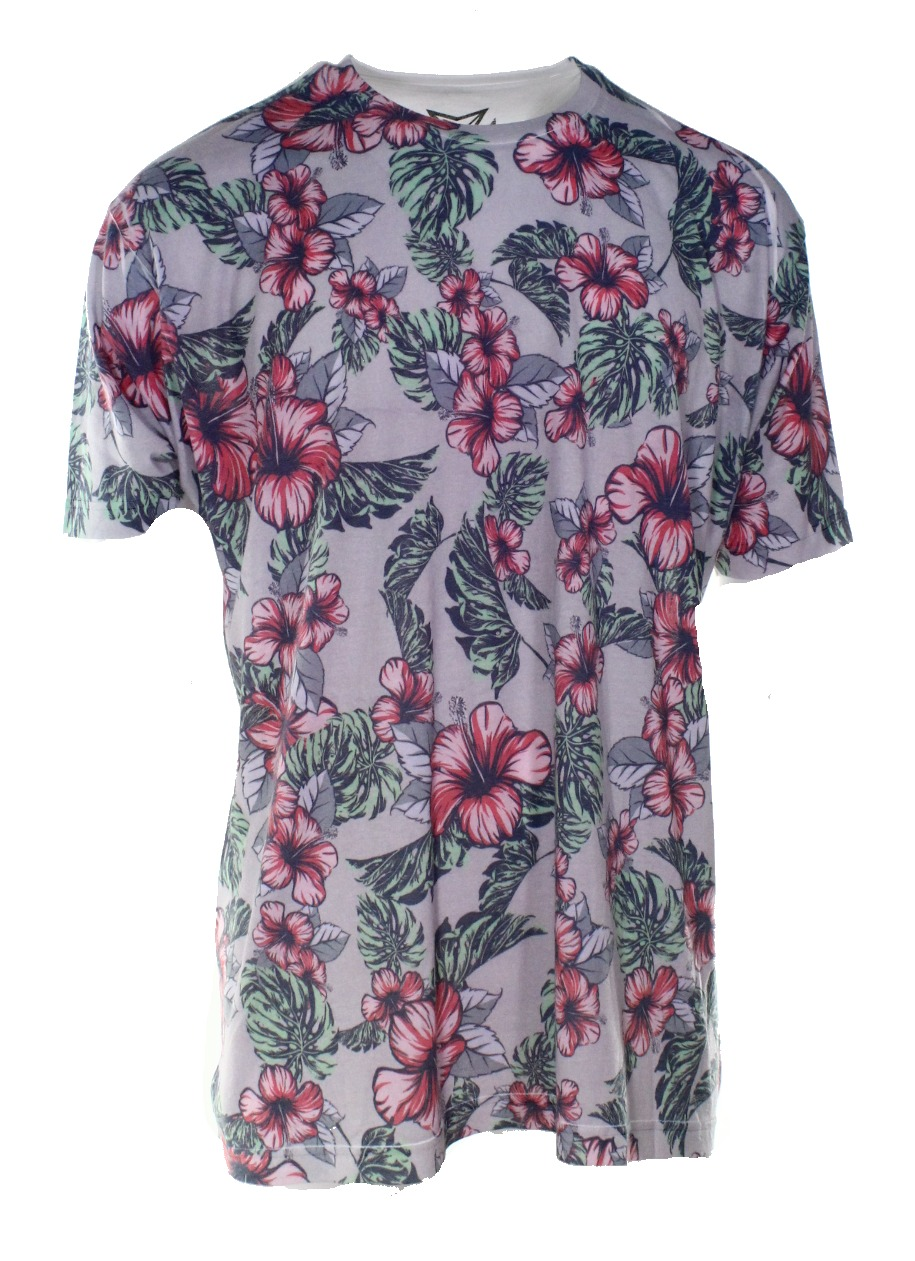 Univibe new gray white mens size 2xl floral print graphic for Mens white floral shirt