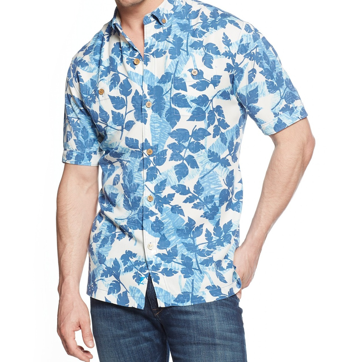 Tommy Bahama New Blue Mens Size Large L Button Down