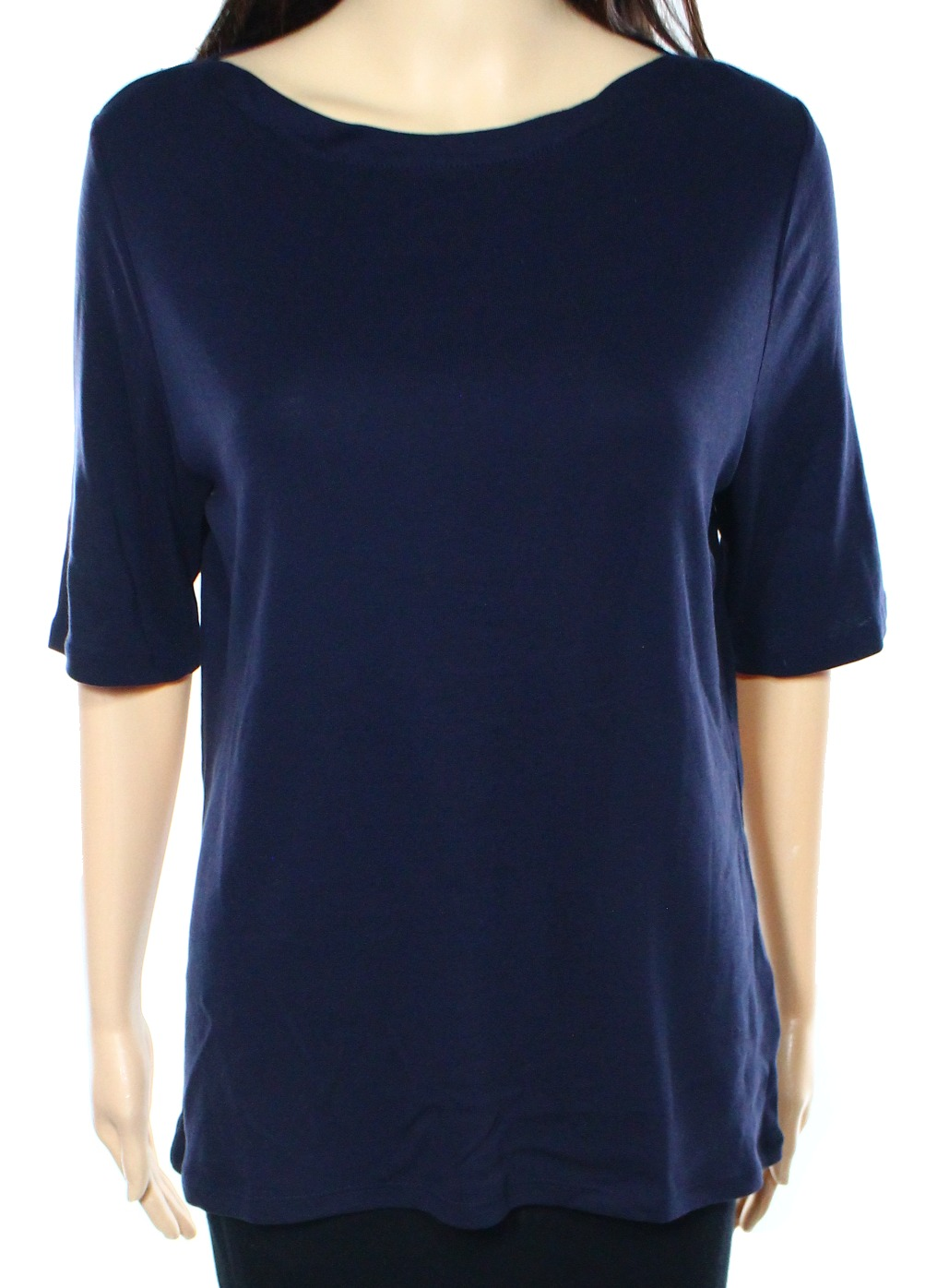 Charter club new blue womens size large l boat neck tee for Pima cotton tee shirts