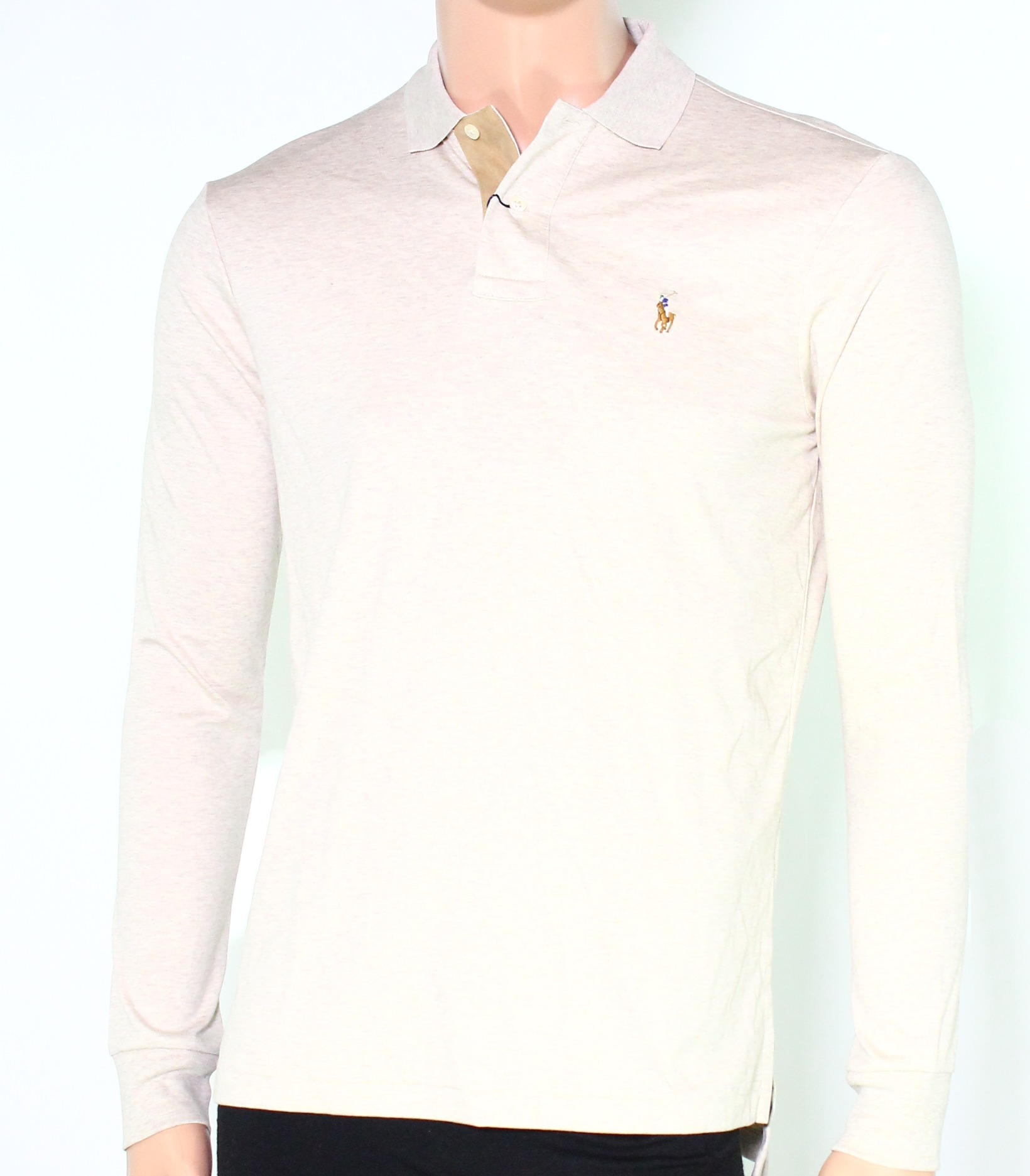 Polo-Ralph-Lauren-NEW-Beige-Mens-US-Size-Small-S-Long-Sleeve-Polo-Shirt-98-100