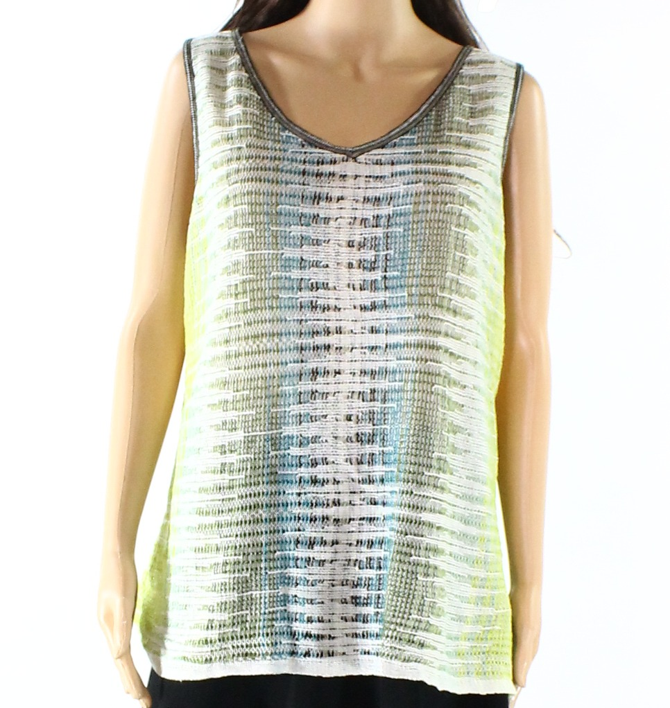 Nic-Zoe-NEW-Green-Blue-Women-039-s-US-Size-XL-Knitted-V-Neck-Tank-Top-168-253