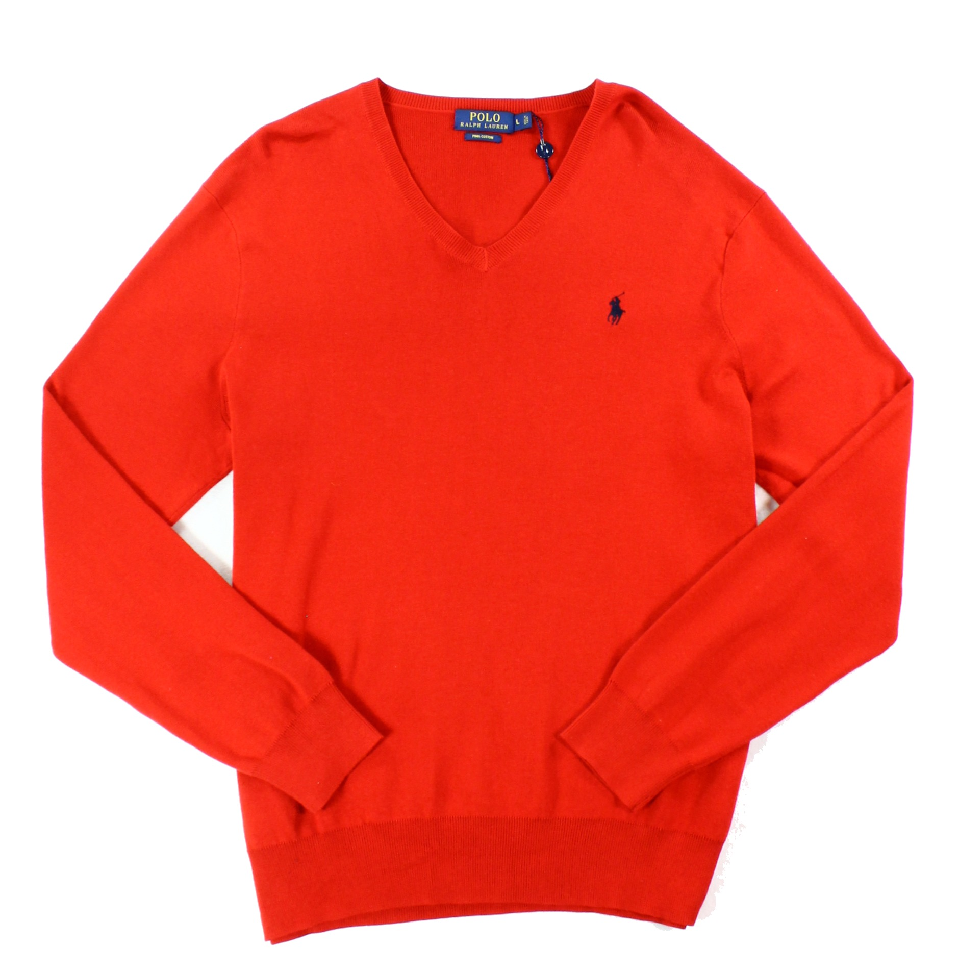 Polo-Ralph-Lauren-NEW-Red-Mens-US-Size-Medium-M-Solid-V-Neck-Sweater-98-163