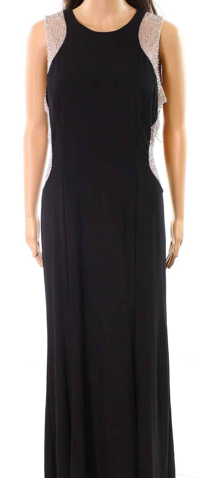 Xscape NEW Black Womens Size 6P Petite Embellished Jersey Knit Gown ...