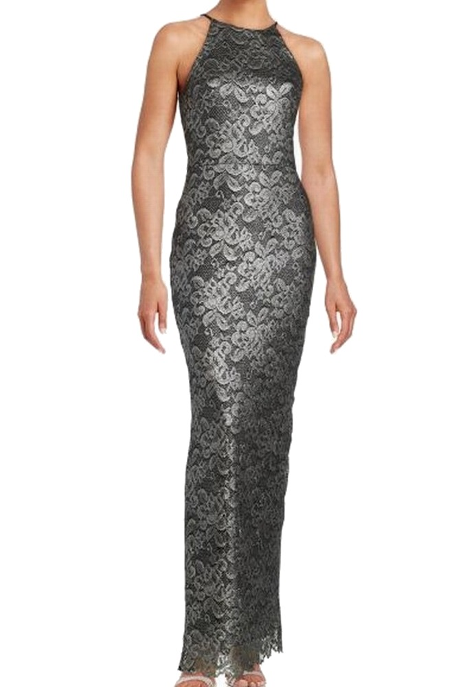 Badgley Mischka NEW Silver Charcoal Womens Size 10 Floral-Lace Gown ...