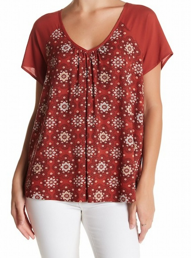 f11f9d491a375 Details about Pleione NEW Brown Womens Size Medium M V-Neck Floral-Print  Blouse  48- 033