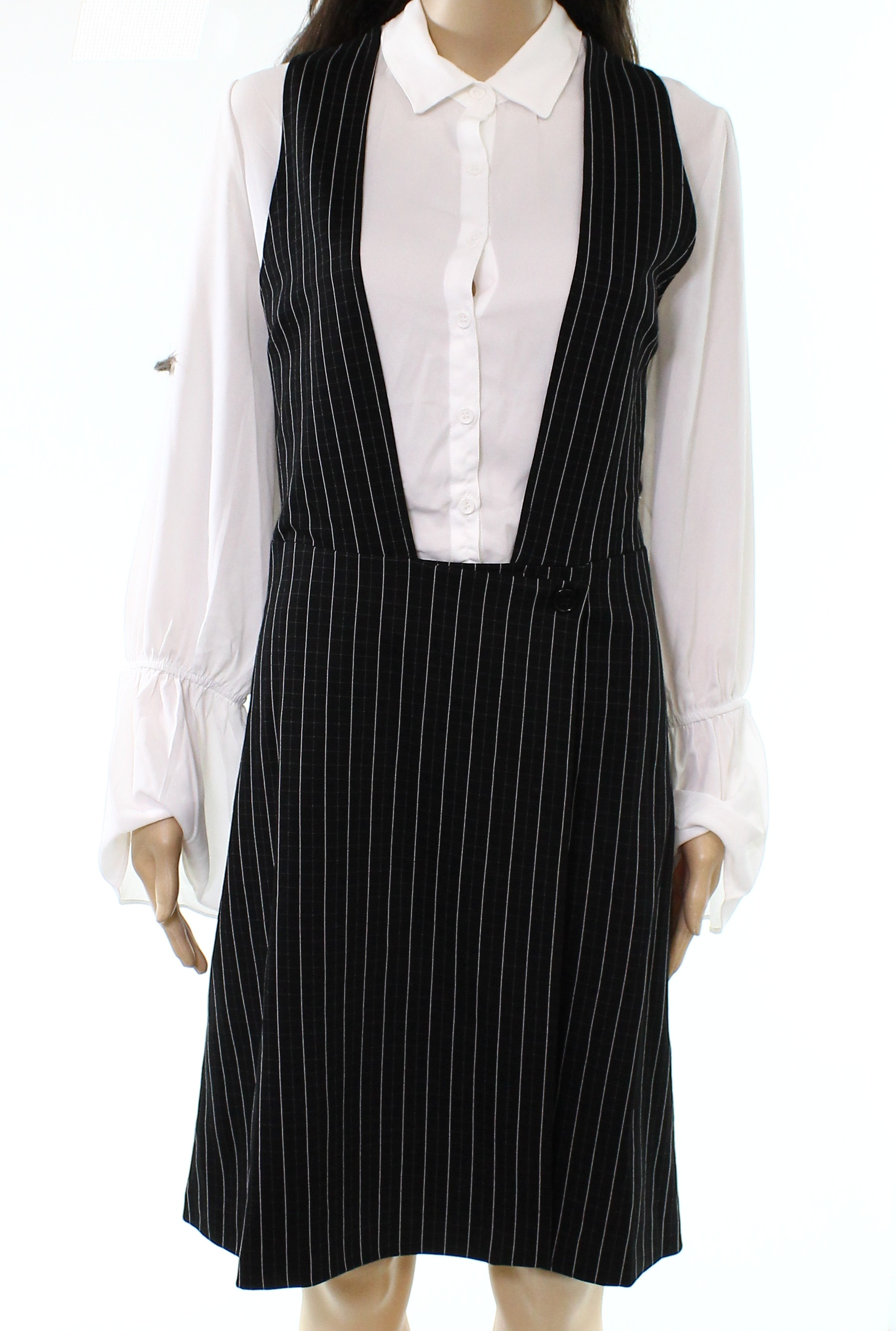 f02c36ccf51 Details about ECI NEW Black White Womens Size 12 Contrast Button Down Shirt  Dress  138 486