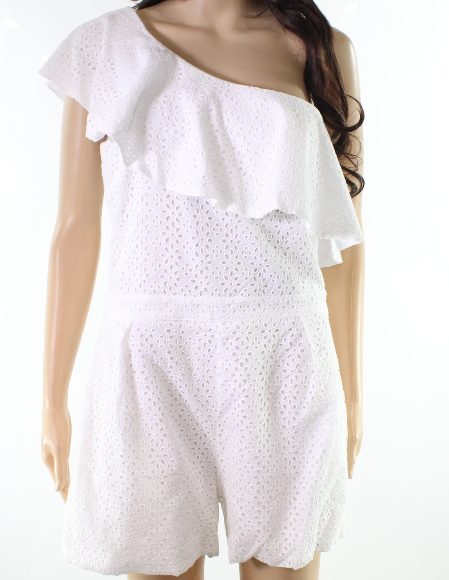 bafd1831eb9 Picture 1 of 3  Picture 2 of 3  Picture 3 of 3. Design Lab NEW White Womens  USA Size Medium M Eyelet One-Shoulder Romper ...