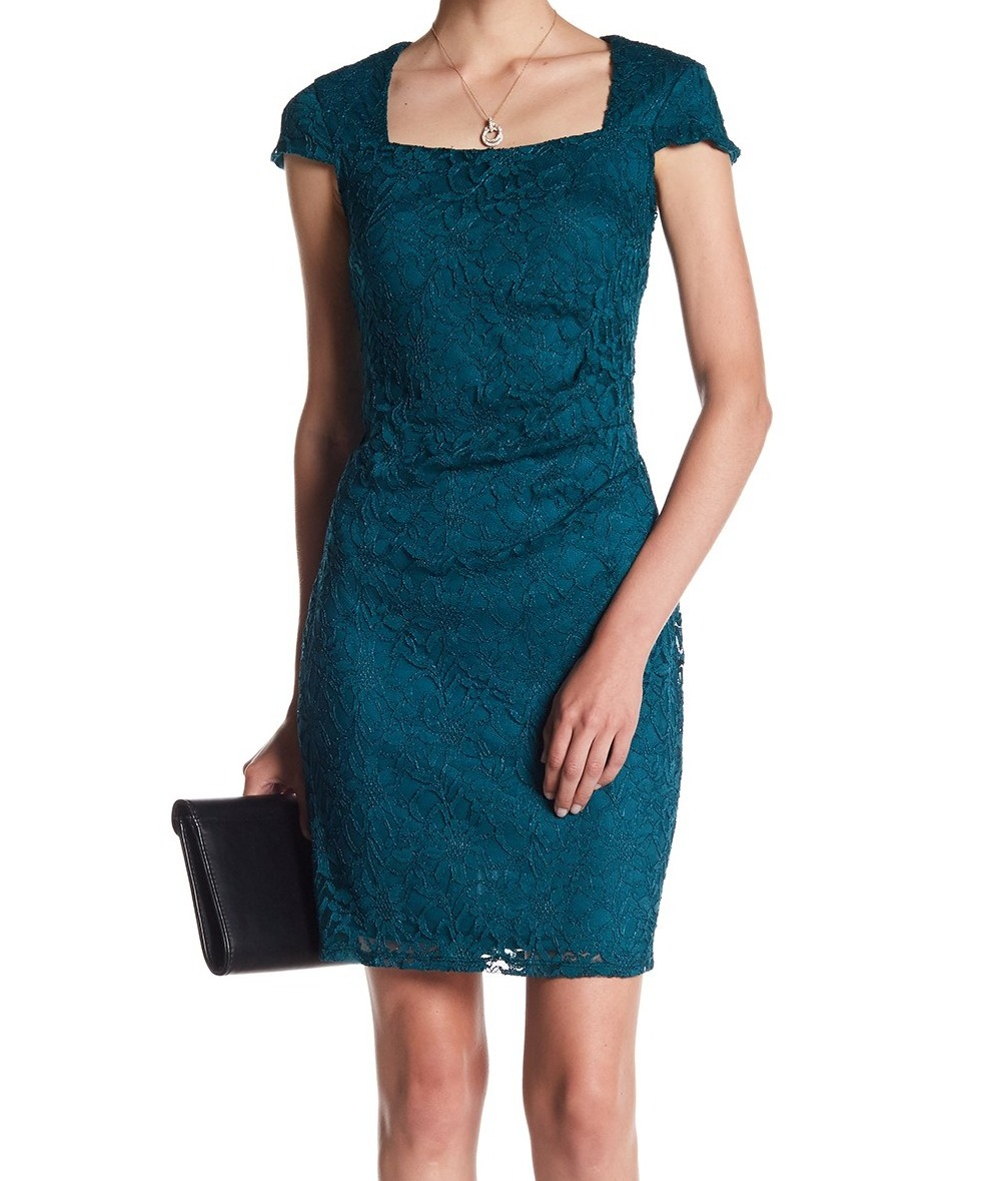 867ce8fb68 Details about Marina NEW Green Womens Size 10 Floral-Lace Square-Neck  Sheath Dress  129 374
