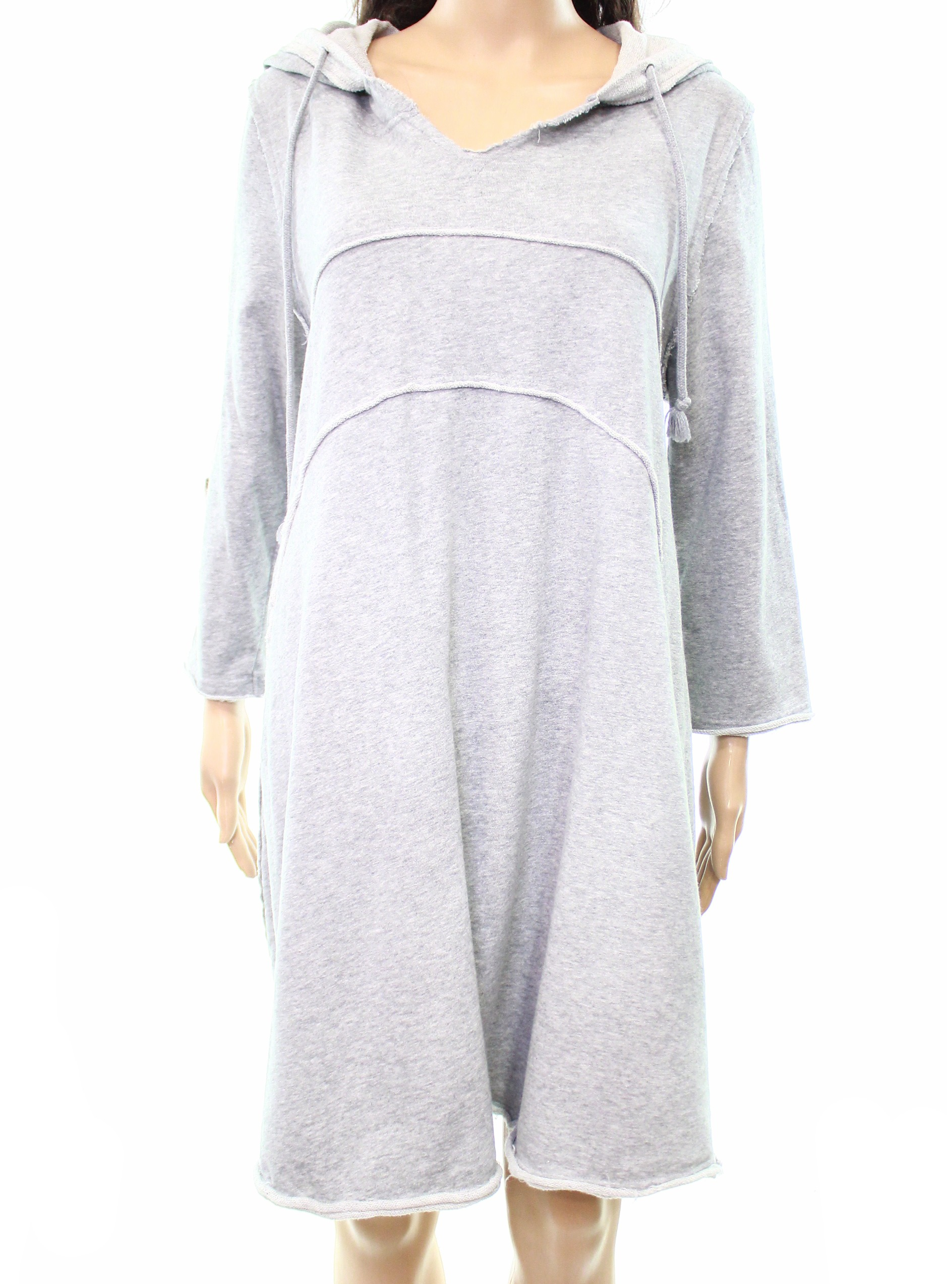 58523cad8ba Details about Solutions NEW Gray Womens Size Medium M Hooded Drawstring  Sweater Dress  85 486