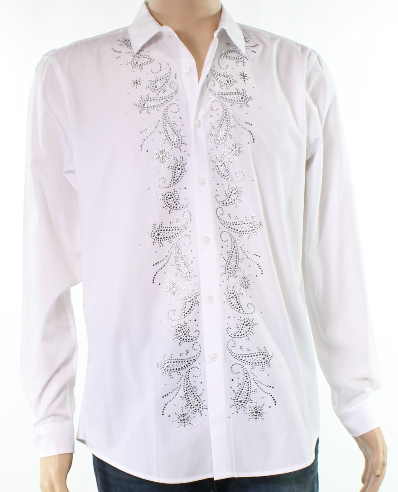 Inc New White Mens Size Small S Beaded Paisley Button Down Dress