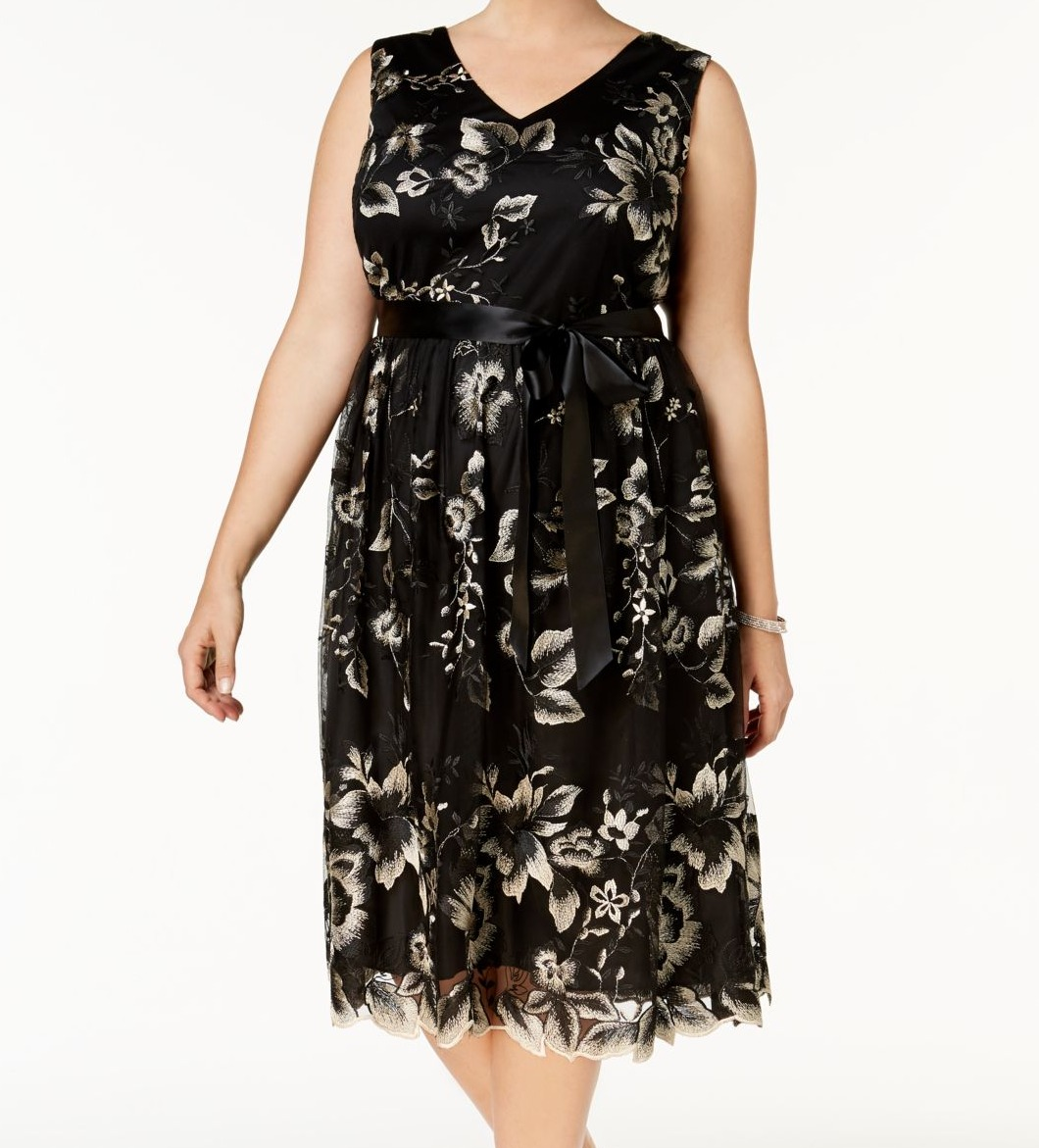 0c6730058e Details about SLNY NEW Black Womens Size 16W Plus Embroidered Floral Sheath  Dress  109- 102