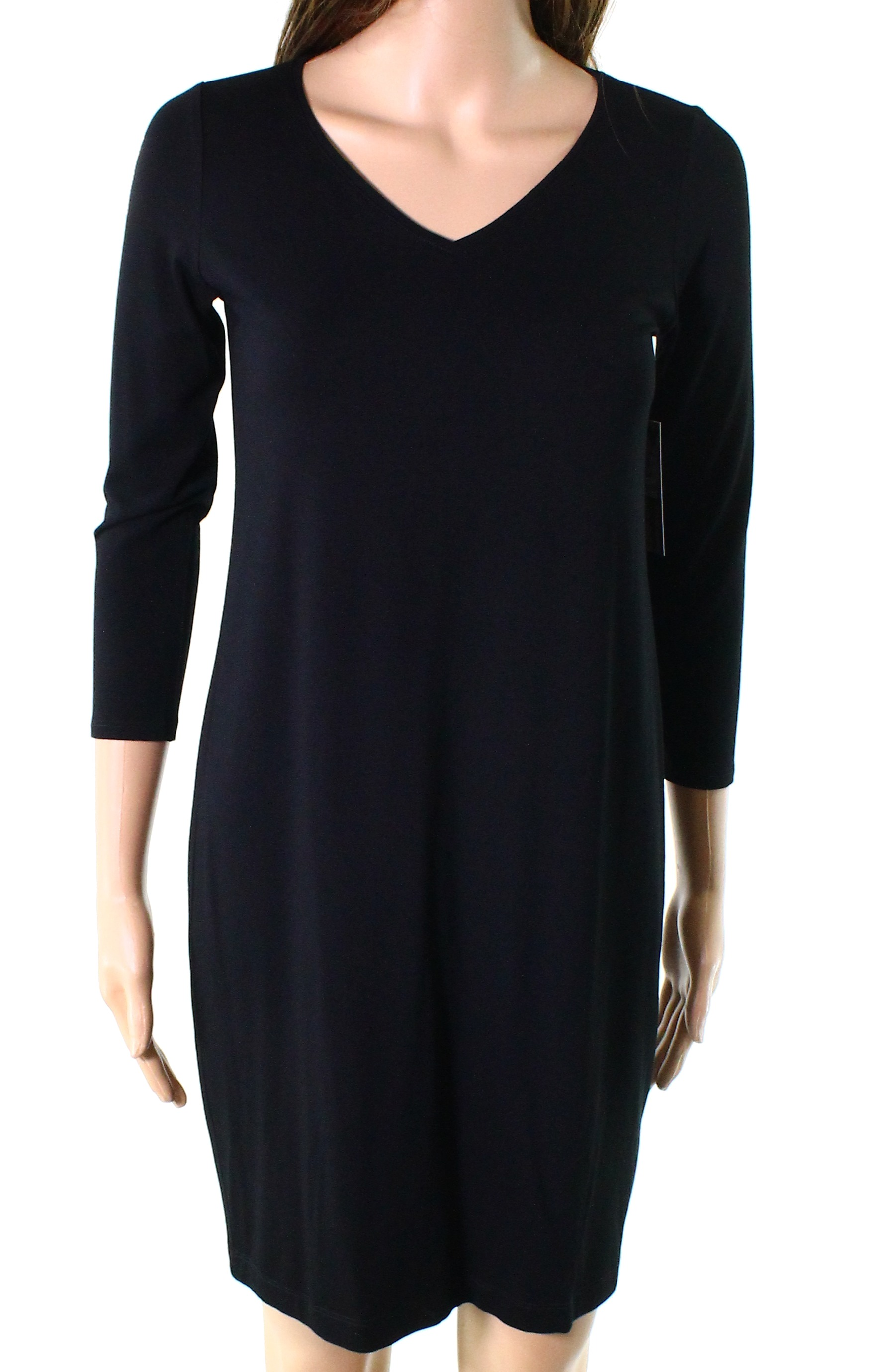 300f9f89f79 Details about Eileen Fisher NEW Black Womens Small S Long Sleeve V-Neck Shift  Dress  138- 052