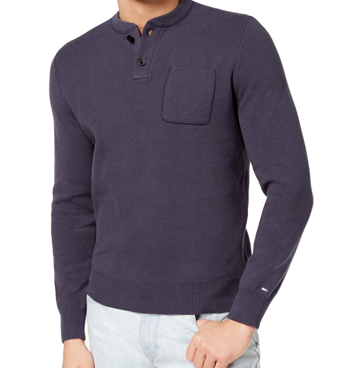 Tommy Hilfiger New Blue Mens Size Small S Chest Pocket Henley