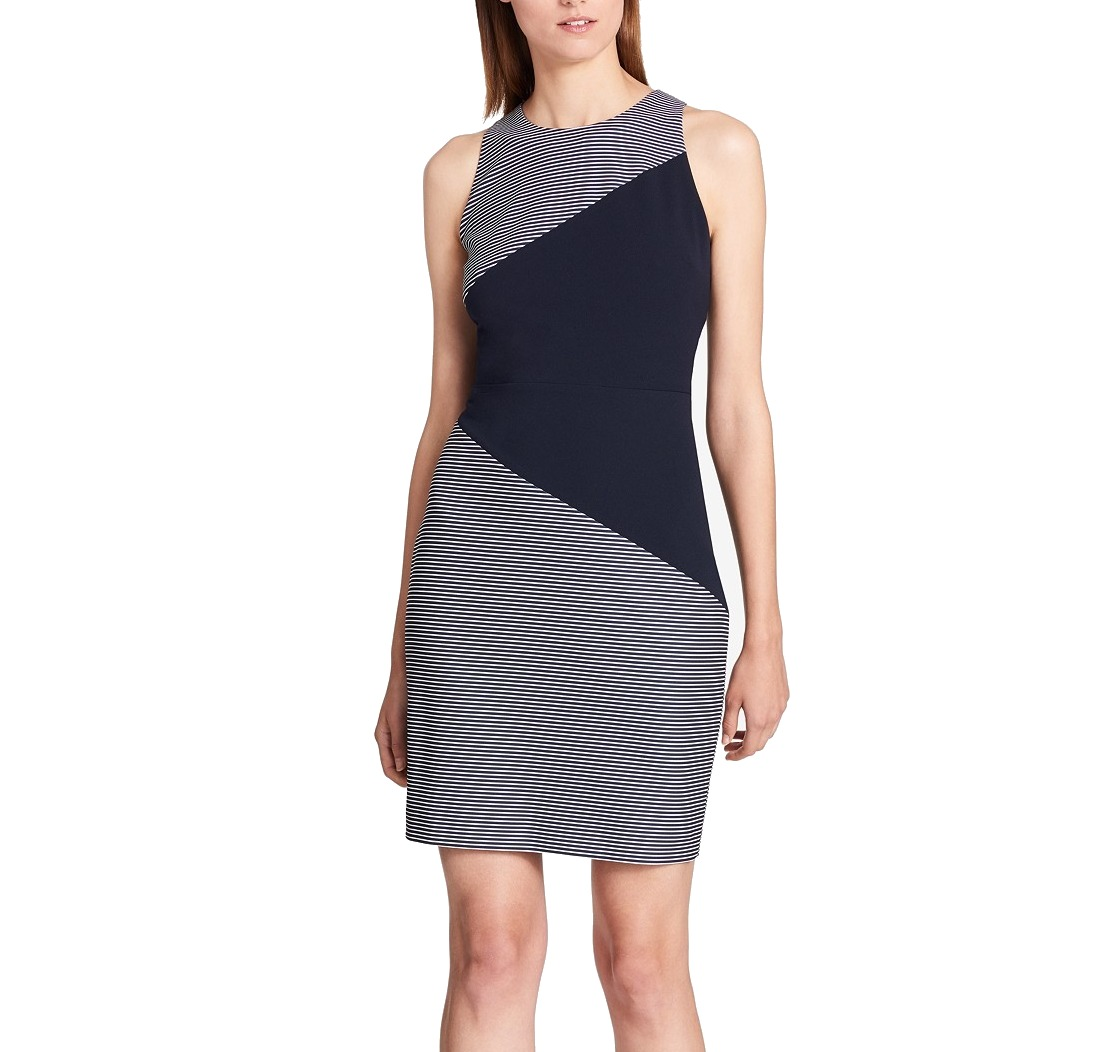 250094a889e8d1 Details about Tommy Hilfiger NEW Blue Womens Size 4 Striped Colorblock  Sheath Dress  129 087
