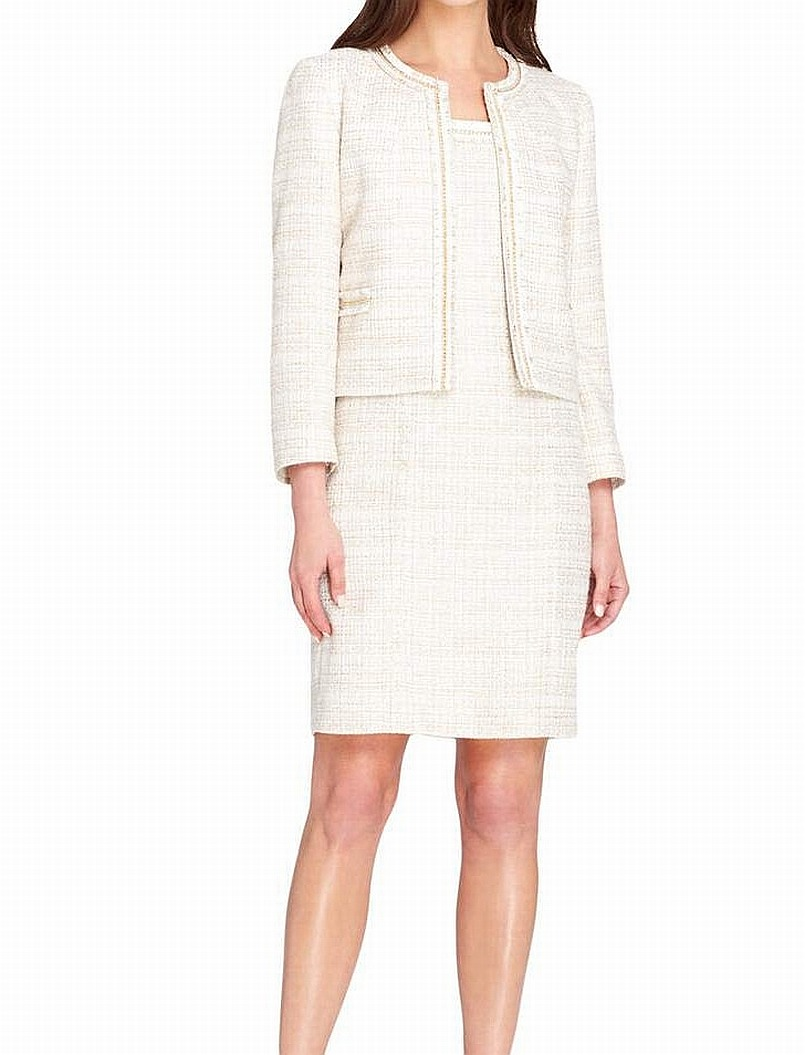 Tahari By Asl New White Gold Womens Size 18 Plus Boucle Dress Suit