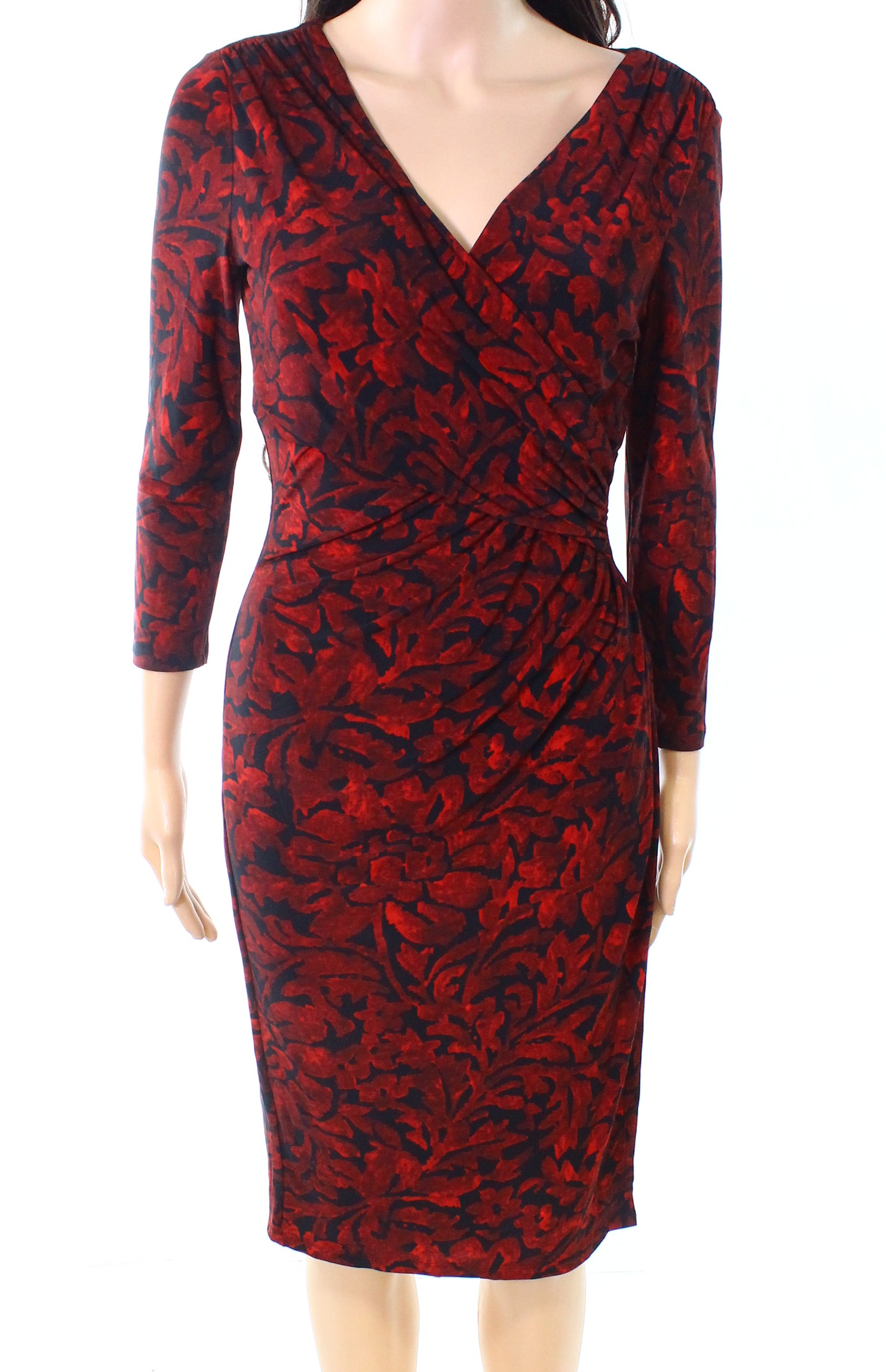 Lauren by Ralph Lauren NEW Red Womens USA Size 4 Jersey Sheath Dress - 145