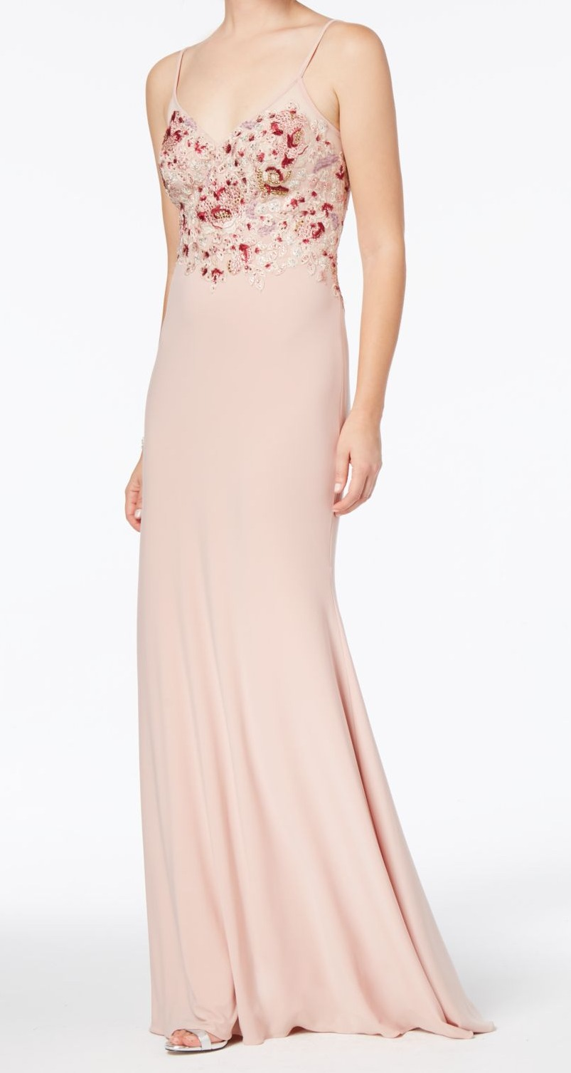 64fd4510f68 Details about Xscape NEW Pink Womens Size 10 Embroidered Beaded Lace Sheath  Dress  309 014