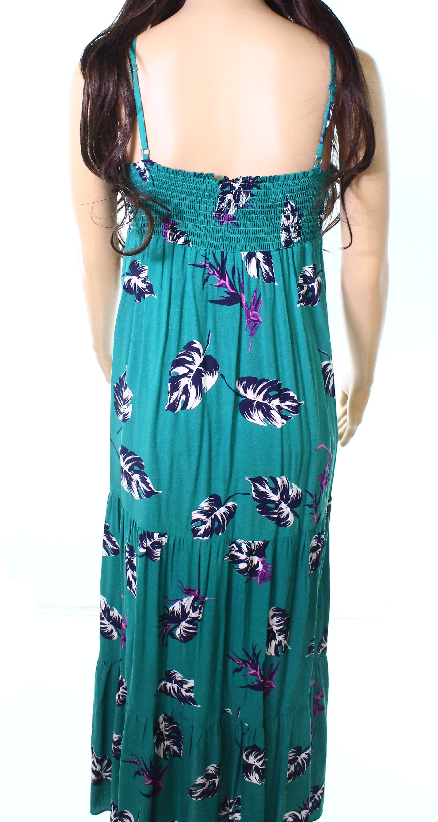 4aa1dba81451 Details about Soprano NEW Green Womens Size Small S Leaf-Print Knot-Front  Maxi Dress $58 928