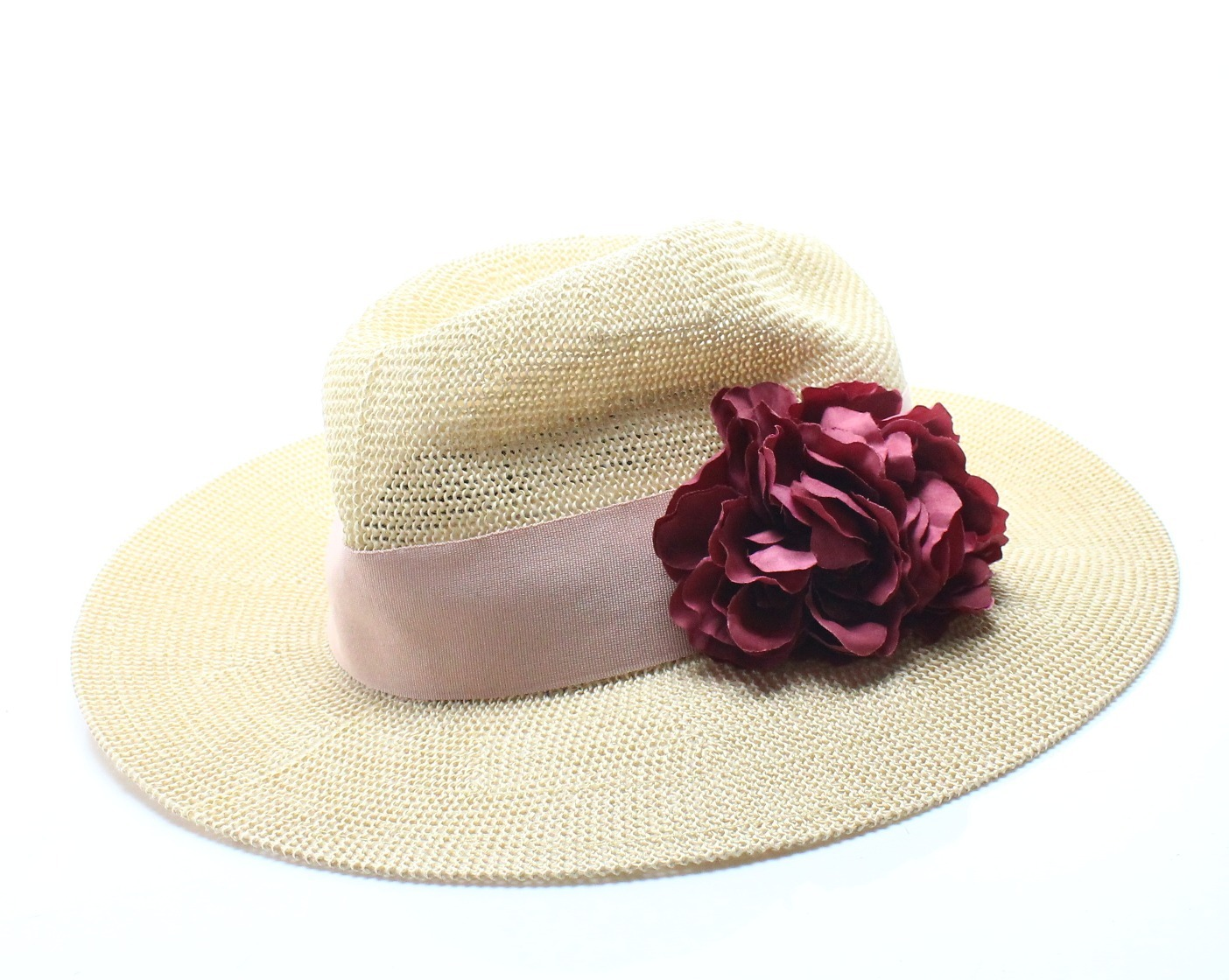 Details about Vince Camuto NEW Beige Natural Red Floral Accent Adjustable Fedora  Hat  32 090 5f530888313