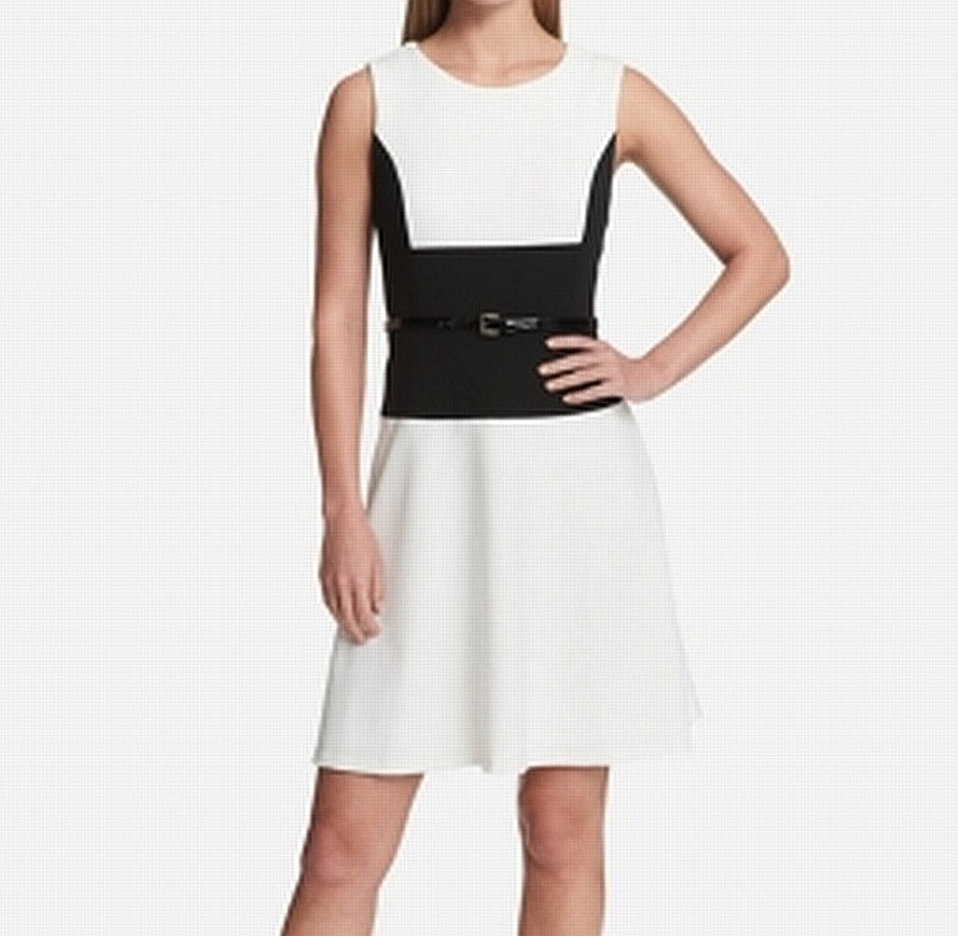 4b330d0c07815e Tommy Hilfiger NEW White Womens Size 2 Belted Colorblock Sheath ...