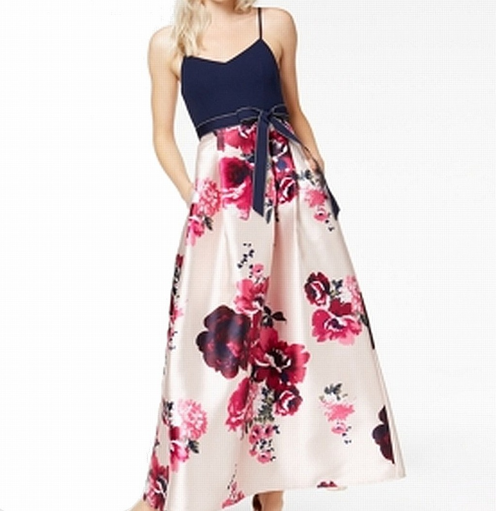 Night By Teeze Me NEW Pink bluee Women's USA Size 2 Floral Print Gown  384