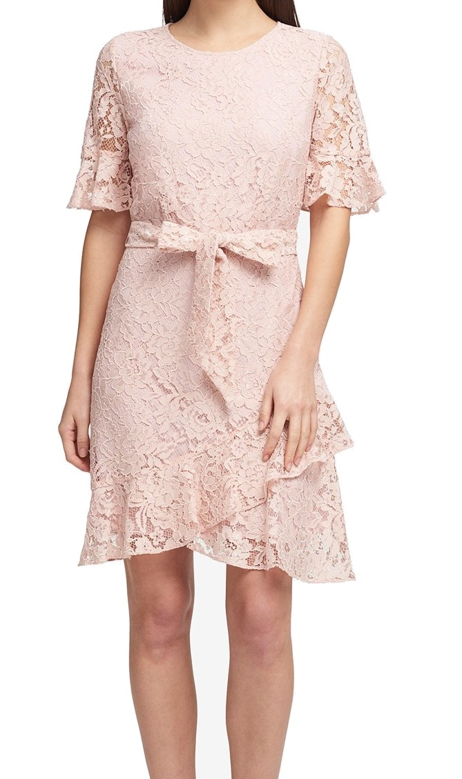 DKNY NEW Peach Pink Pink Pink Womens Size 6 Lace Short Sleeve Belted Sheath Dress  139 450 595f82