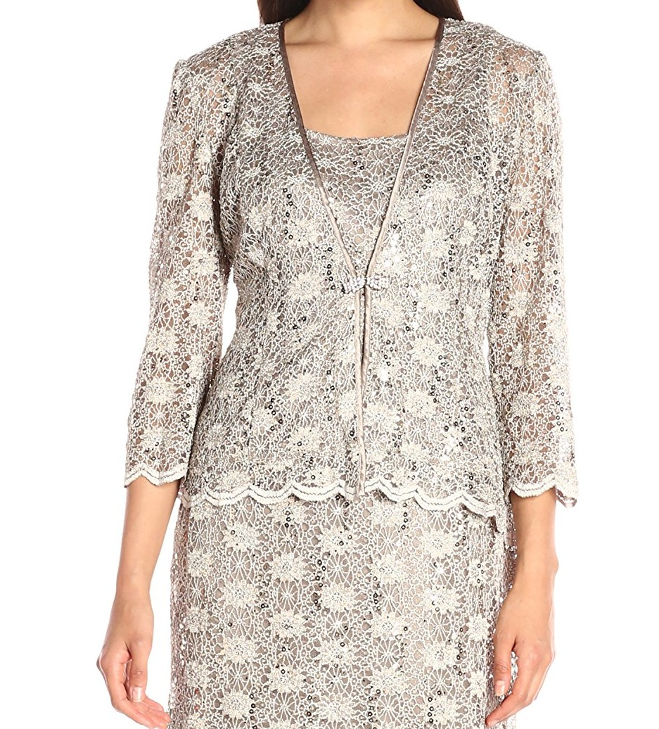 14b41727 R&M Richards NEW Beige Gold Womens USA Size 16 Sequin Lace Knit Jacket  $129- 107