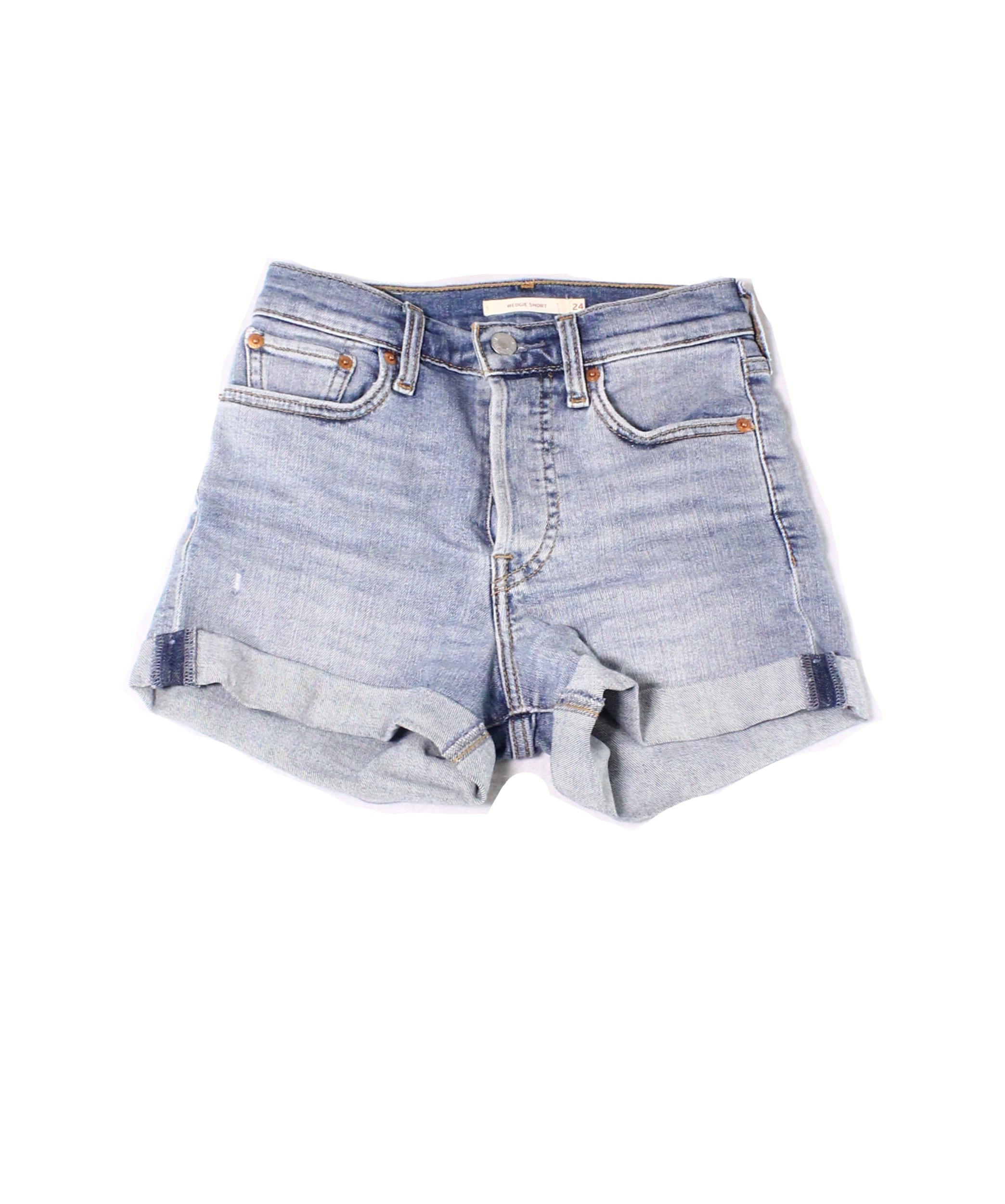 cfd1ac49 Details about Levi's NEW Light Blue Womens Size 24 Cuffed Button-Fly Denim  Shorts $30 119