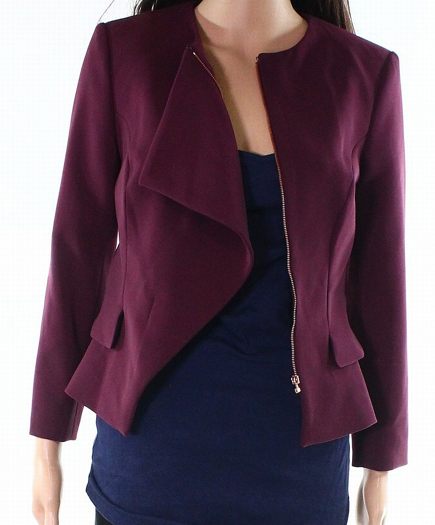 f0dd04afb Details about Ted Baker NEW Purple Women Size 2 Collarless Ruffle Front  Peplum Jacket  379 889