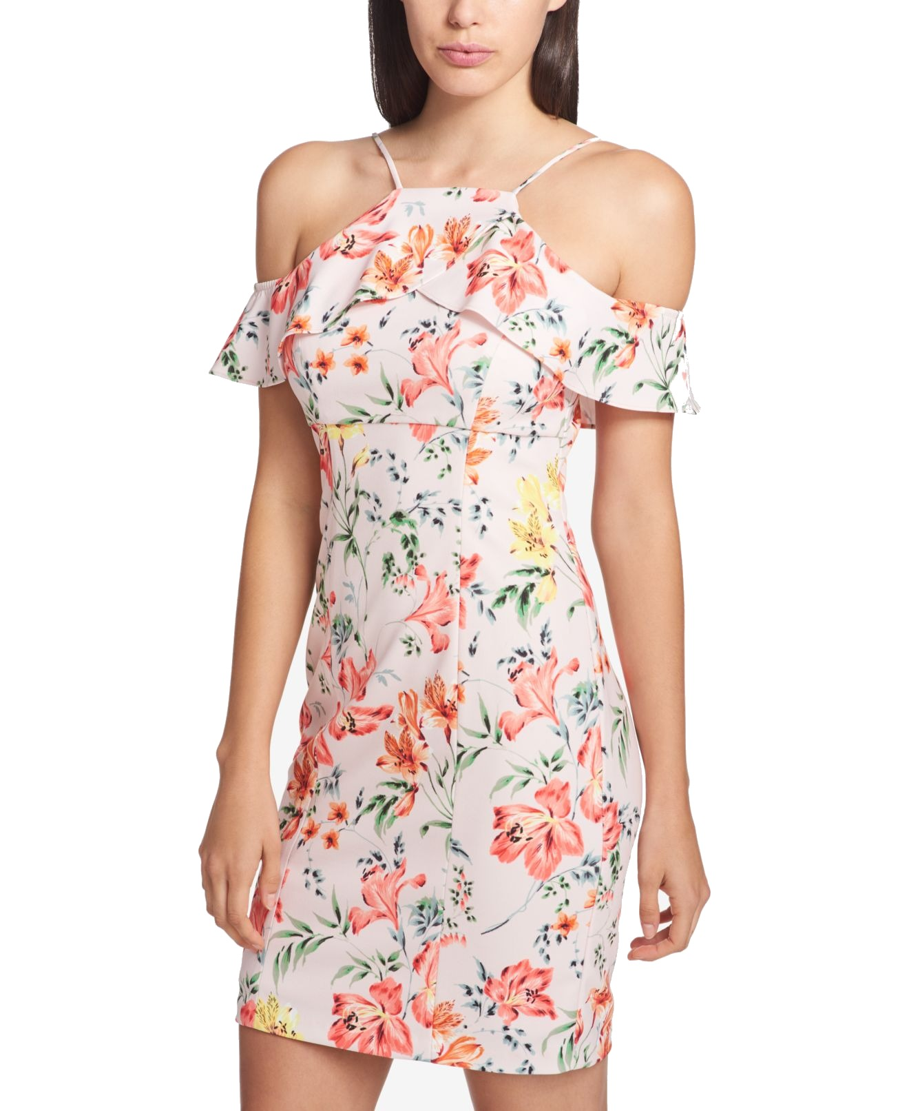 Guess NEW Pink Women's Size 10 Cold-Shoulder Floral Sheath Dress  108 716