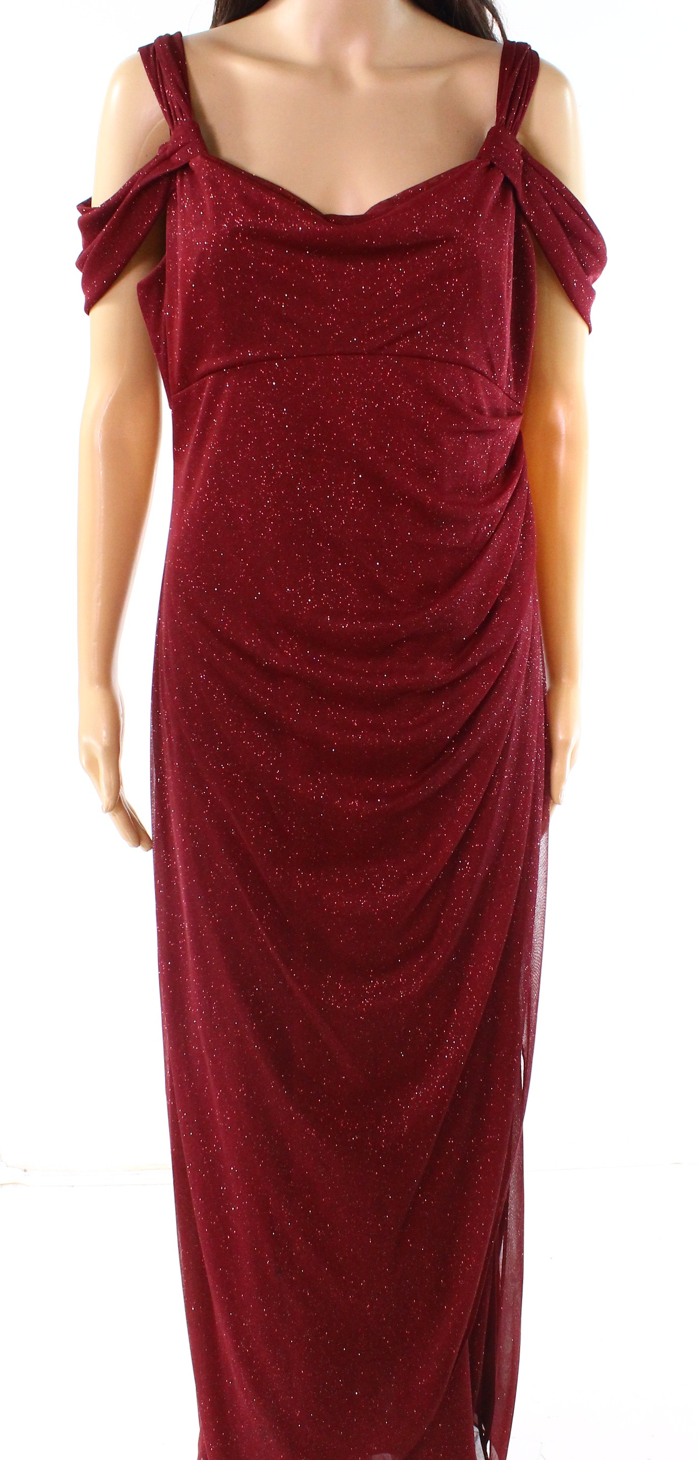 a09de05ddd653 Details about Alex Evenings NEW Red Womens Size 12P Petite Cold-Shoulder Gown  Dress $139- 059