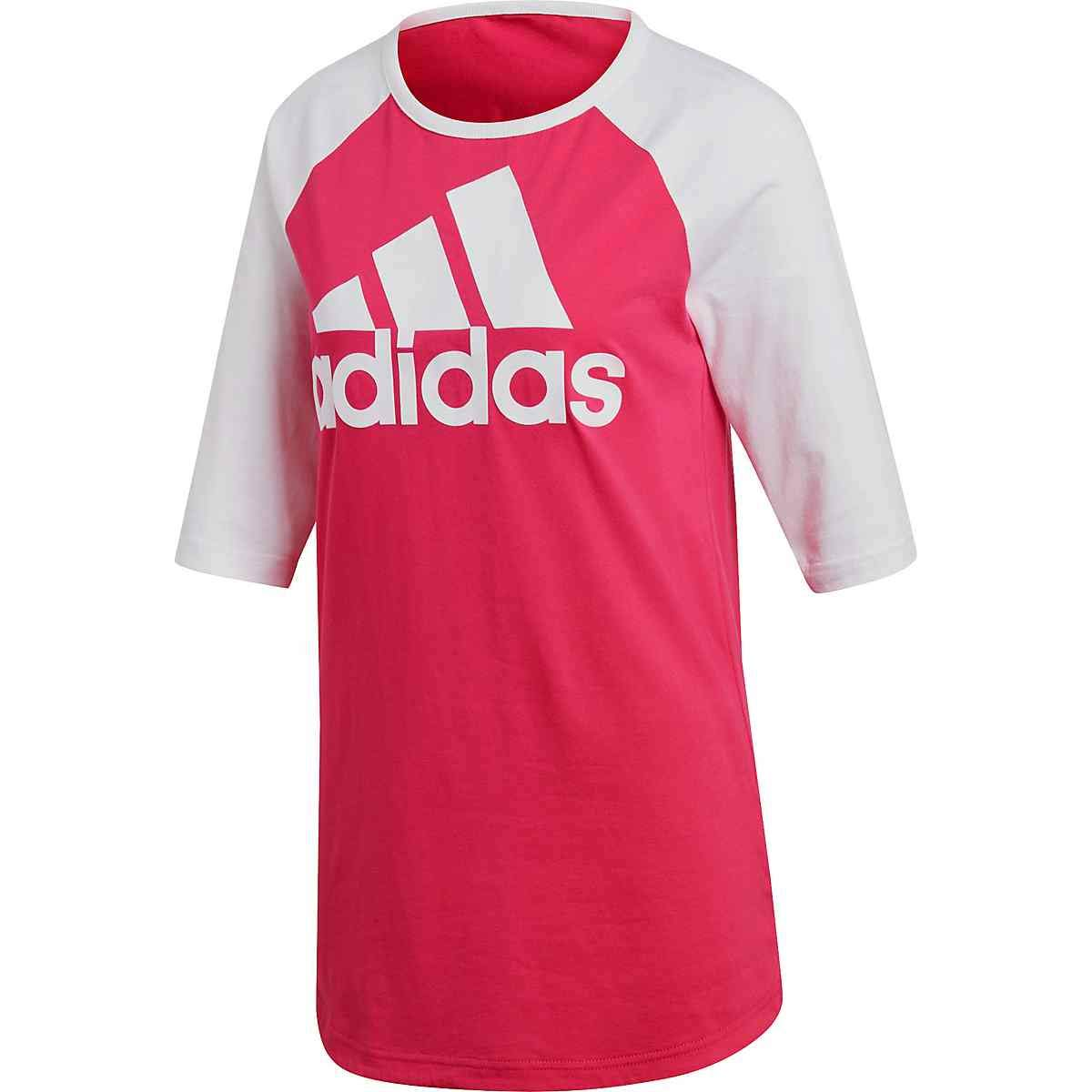 1ed9c04187 Details about Adidas NEW Pink White Womens US Size XS Athletic Baseball Tee  T-Shirt $35 043