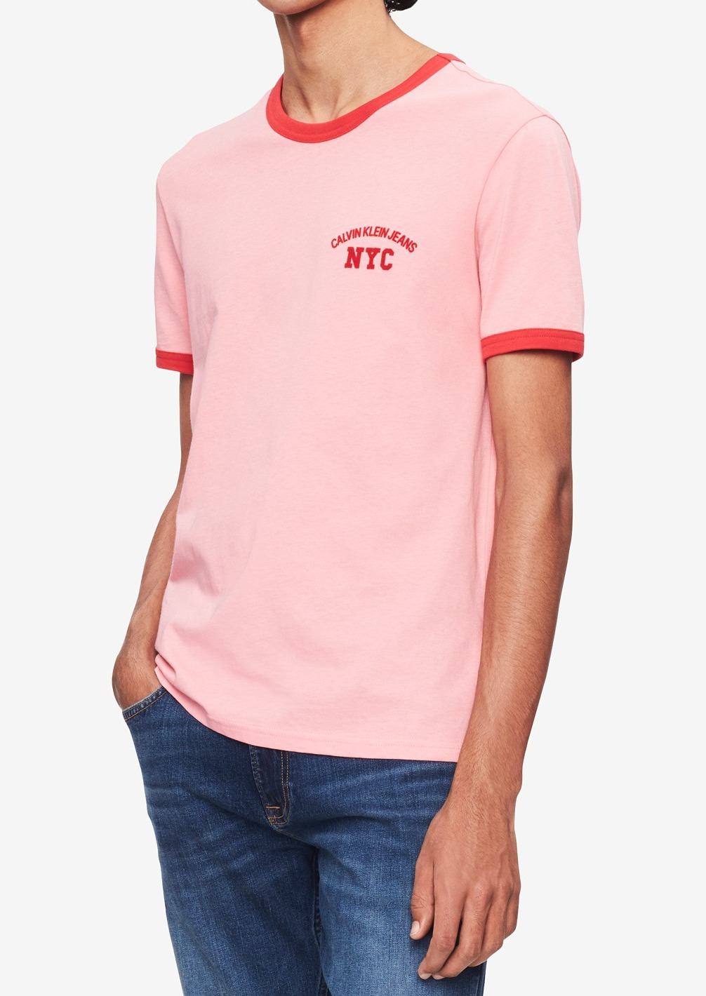Details about Calvin Klein NEW Pink Red Mens US Size XL Ringer Graphic Tee  T-Shirt $39 356