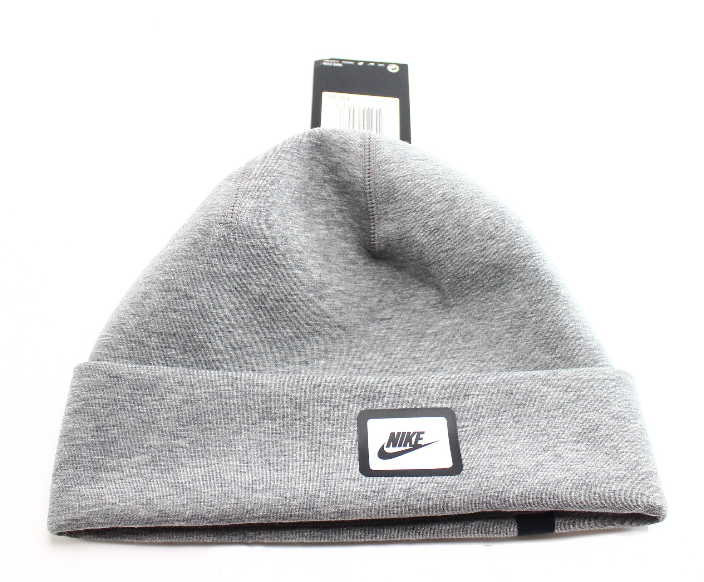 b21ad8a32 Details about Nike Gray Solid Classic Adult One US Size Cuffed Logo Polar  Beanie Cap $29 370