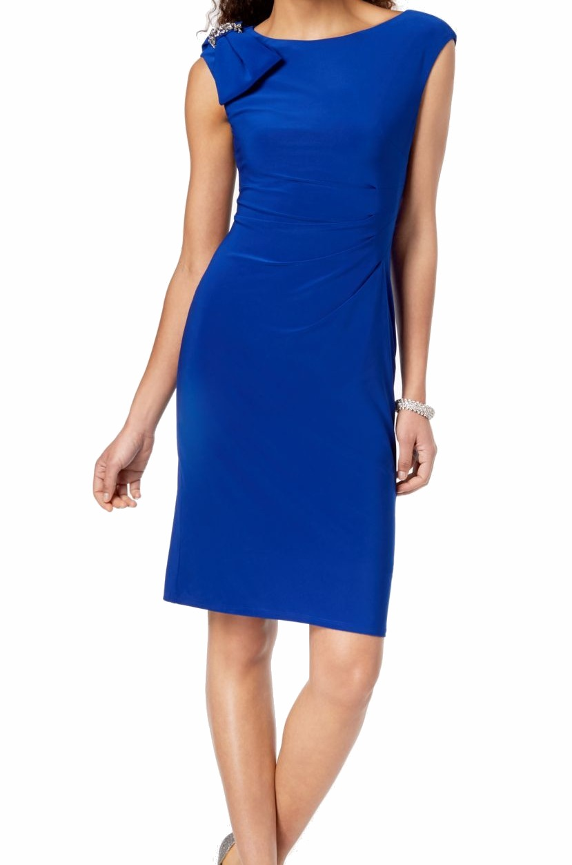 Jessica Howard Womens Dress Royal Blue US Size 8 Sheath Embellished  $99 143