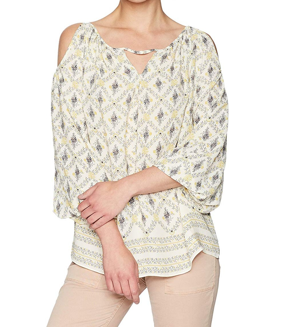 Max-Studio-Womens-Blouse-Yellow-Size-XS-Floral-Cold-Shoulder-Keyhole-25-025