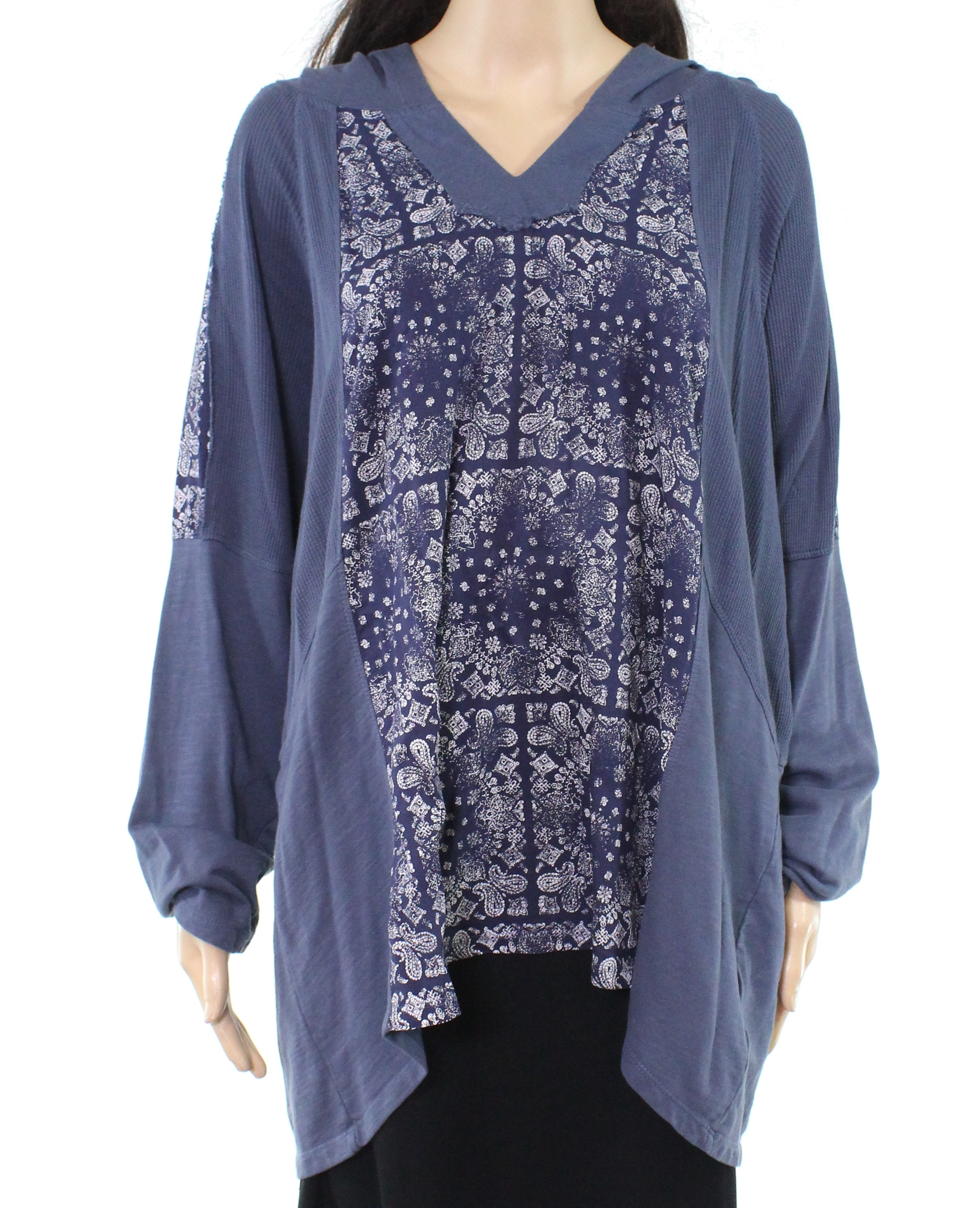 Style & Co. Womens Hoodie Blue USA Size 3X Plus Paisley Knit High Low $59 202