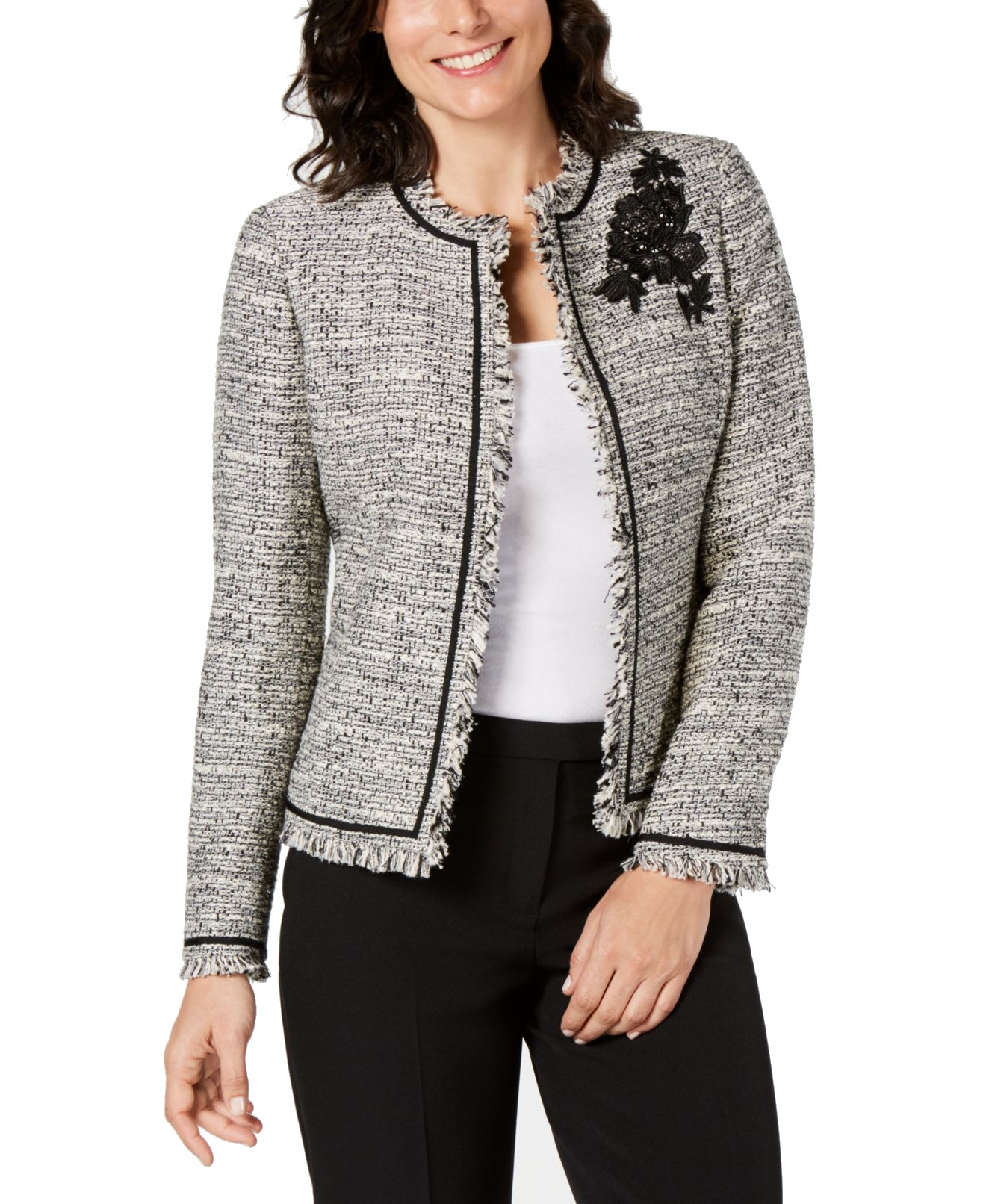 Kasper Womens Jewel Neck Stretch Tiny Check Tweed Jacket with Piping