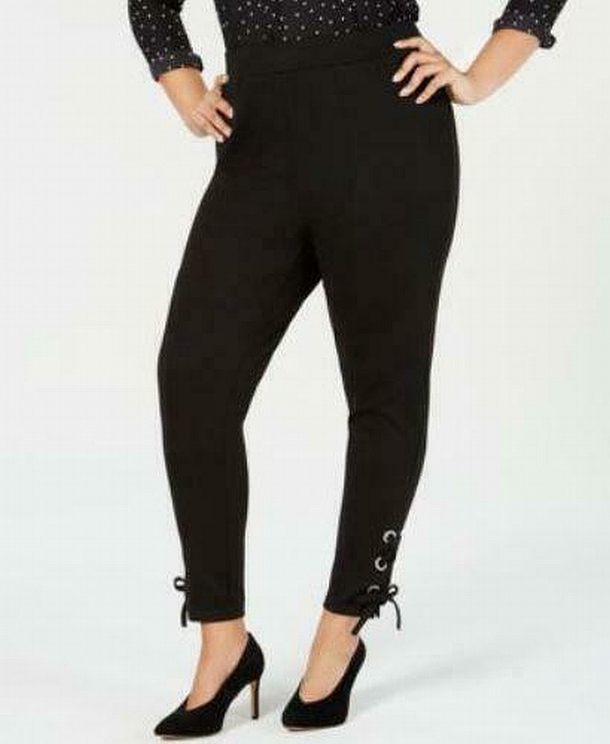 INC-Womens-Leggings-Black-Size-1X-Plus-Lace-Up-Ankle-Pull-On-Smoothing-59-279
