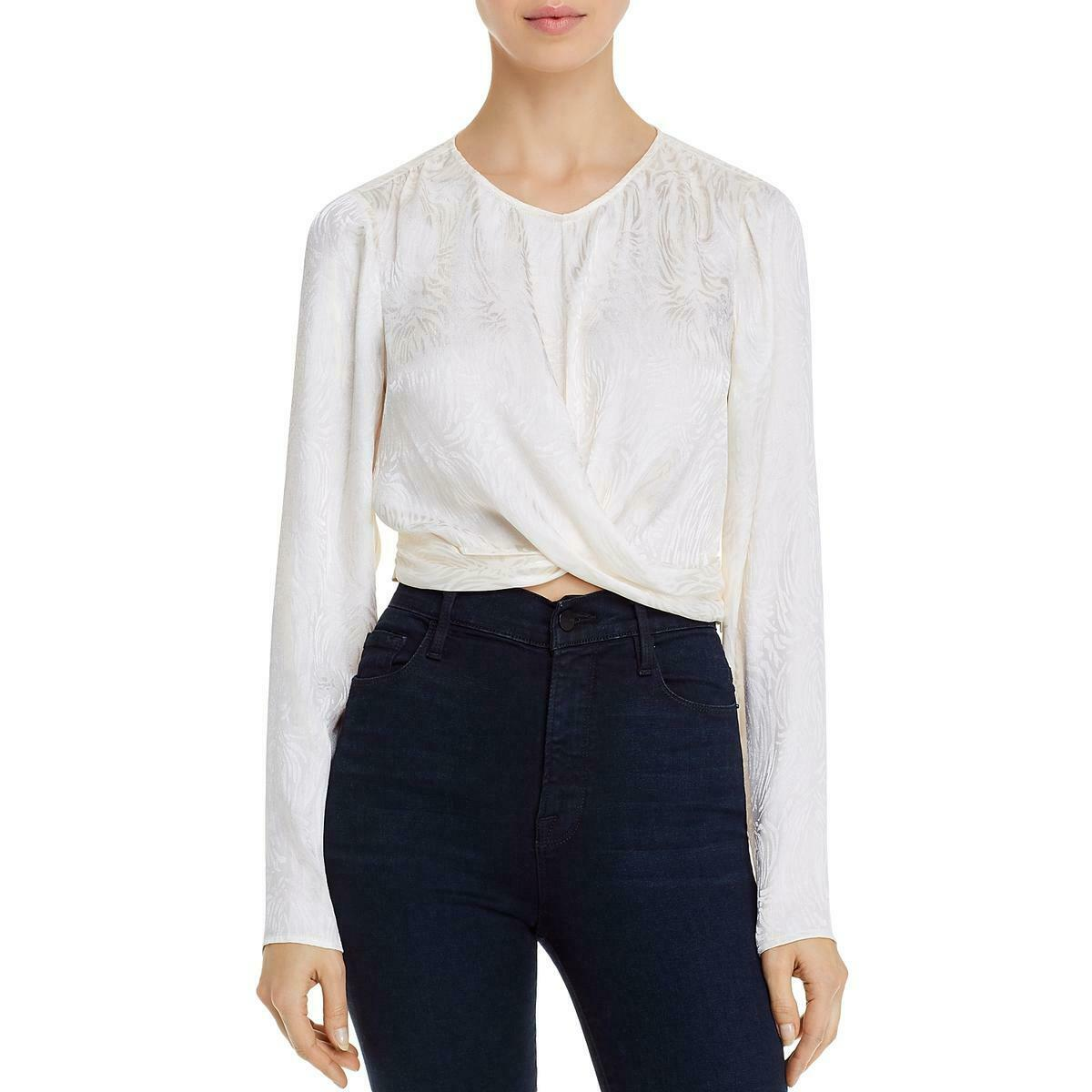 Guess Womens Blouse Classic White Ivory Size XL Cropped Evolette Twist $79- 287