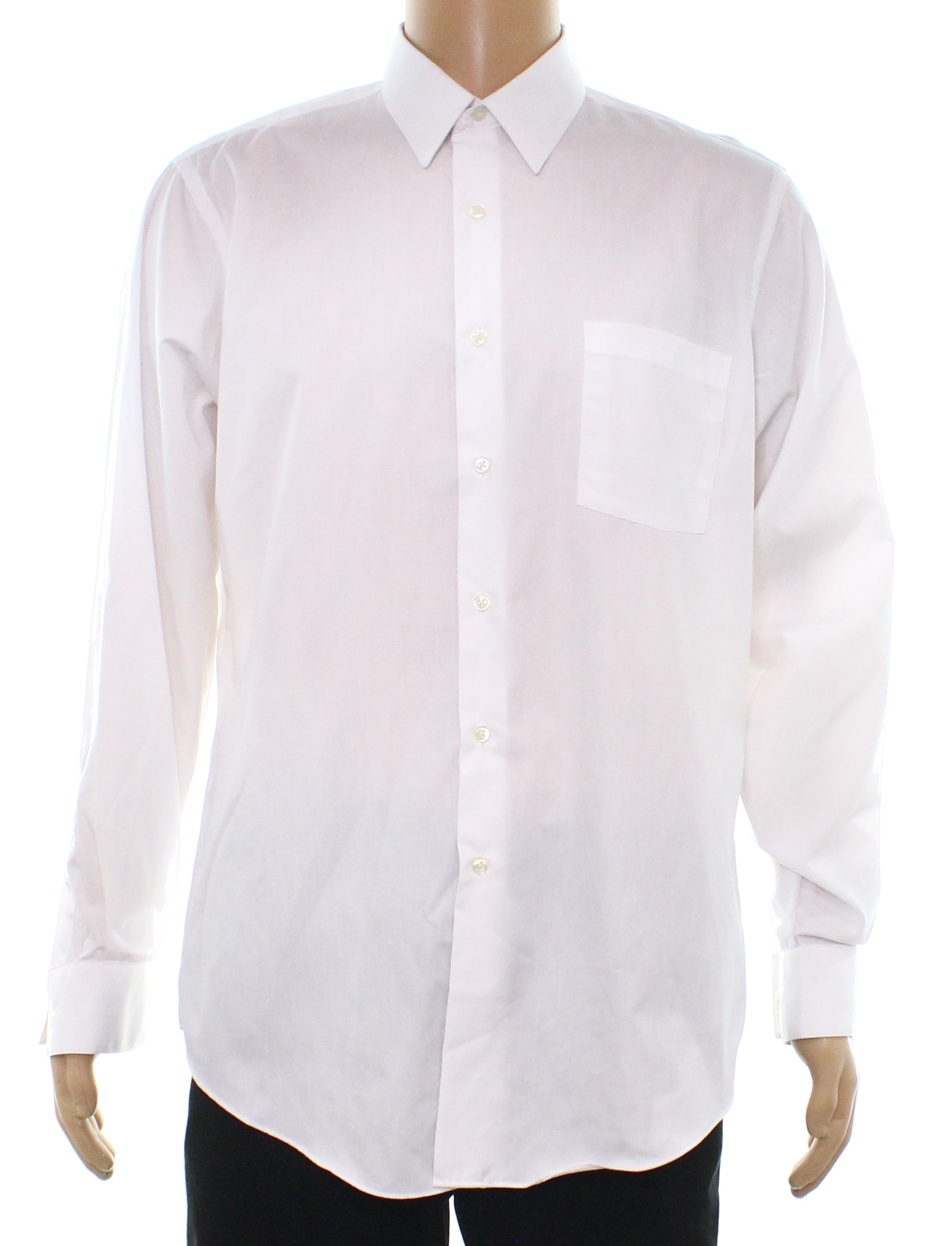 Van Heusen New Bright White Mens Size 16 Solid Slim Fit Dress Shirt